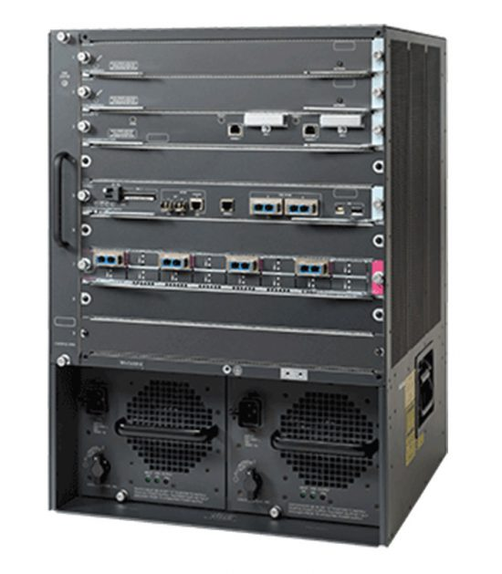 Cisco 6509-E chassis with additional accessories and linecards